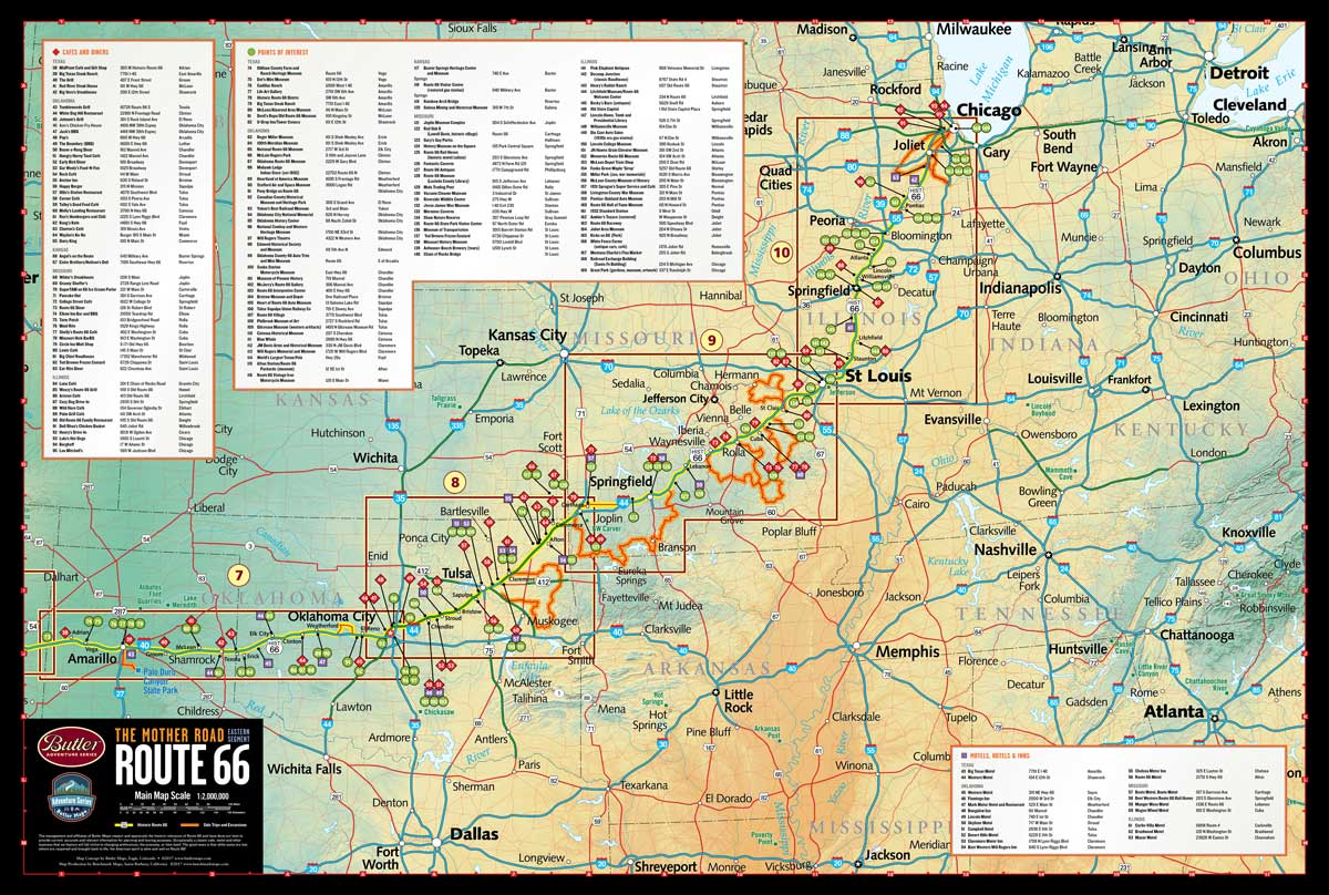 Historic Route   Butler Motorcycle Maps - Chicago map route 66