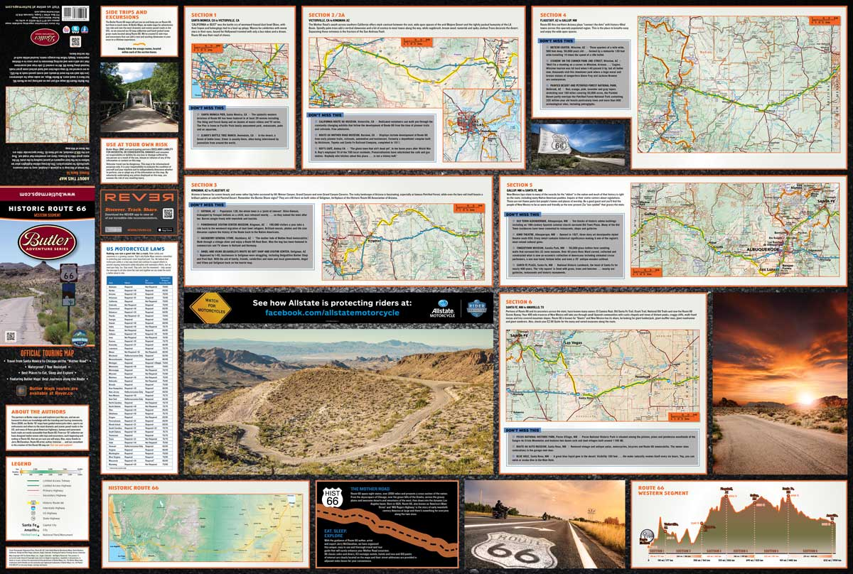 Historic Route Butler Motorcycle Maps - Historic us 66 map